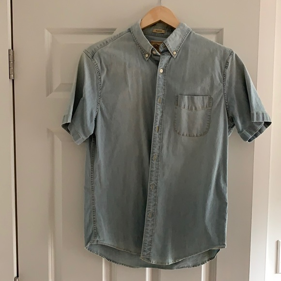 J.crew men's short sleeve chambray shirt